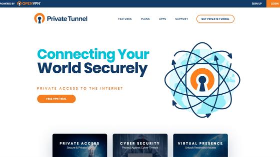 Página principal de Private Tunnel
