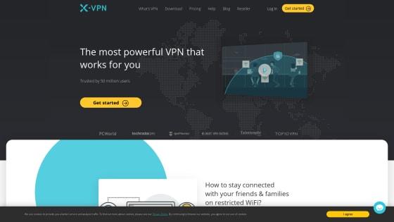 Página principal de X-VPN