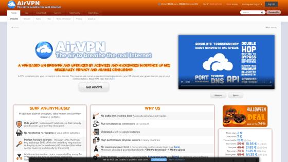 Página principal de AirVPN