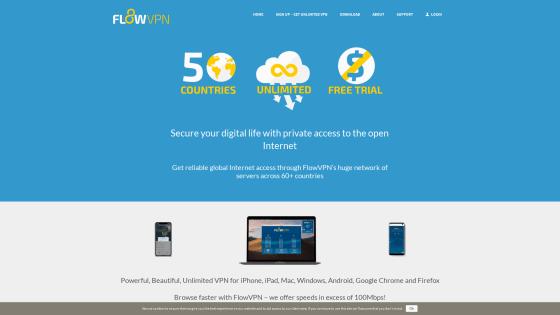 Página principal de FlowVPN