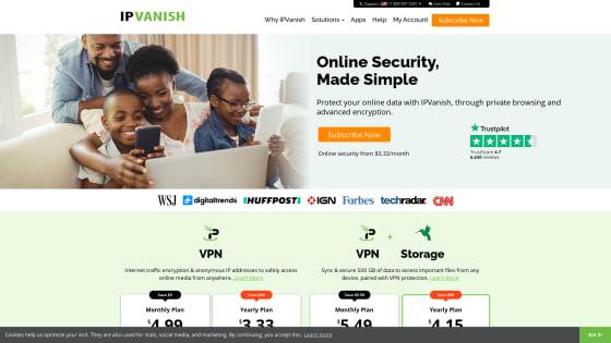 Página principal de IPVanish