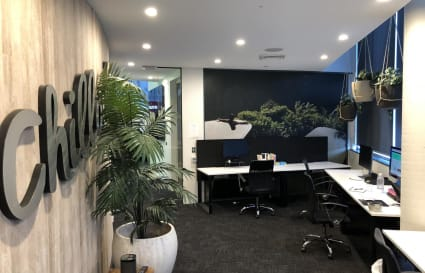Contemporary space with 2 desks