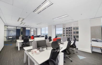 Coworking desks on Collins St