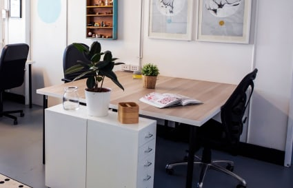 Large desk in creative co-working space
