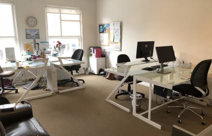 Light, bright, quiet office space with a desk to rent. 24/7 access
