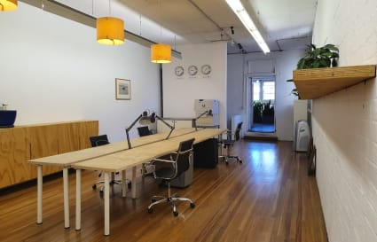 Dedicated bank of 5 workspaces in a unique shared space with huge meeting room