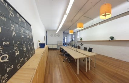 Dedicated bank of 4 workspaces in a unique shared space with huge meeting room