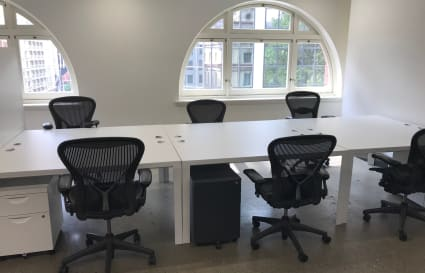 Block of 6 desks in shared space