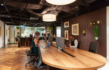 Internal 10-person collaborative workspace based with views of Adelaide's skyline