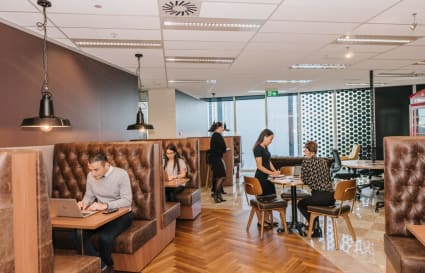 Collaborative 28-person external workspace with views over the Parramatta CBD