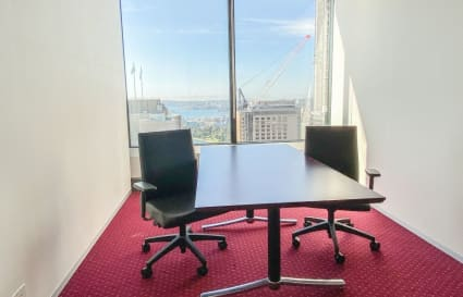 Private 2 person external office with views boasting over the Sydney skyline