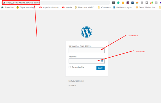 wordpress how to login as admin