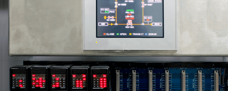 Skjermen til et automasjonssystem, installert i bedrift av Moss Elektro.