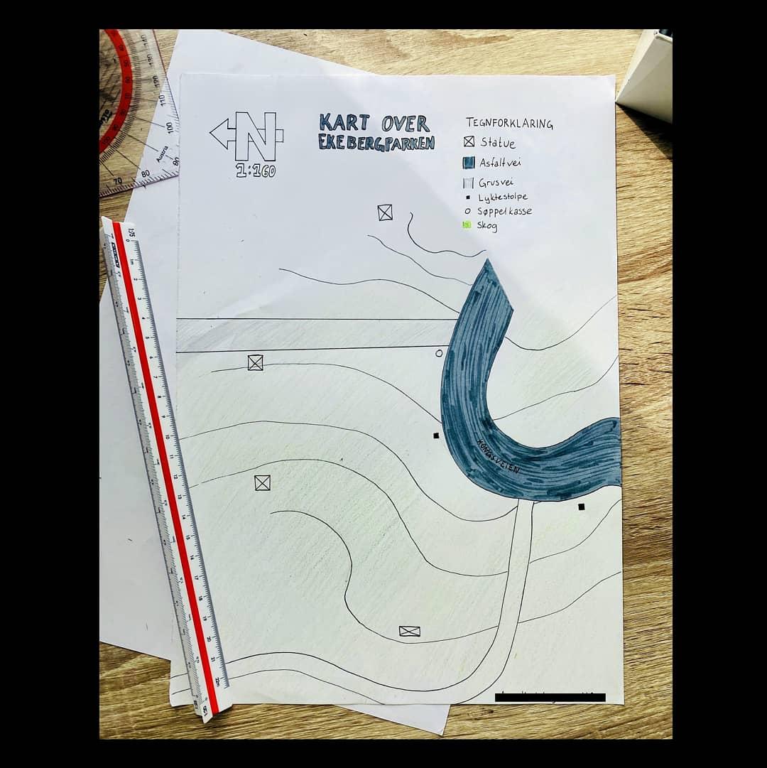 Karttegning fra landmåling i Vg1
