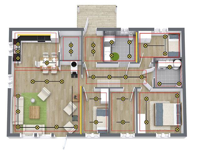 Eksempel på plassering av downlights i ulike rom