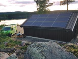 Solcelleanlegg med 12 paneler