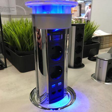 Versalux el-søyle - 2 stikk + 2 USB + 2 RJ45/CAT6 - MATT STAINLESS STEEL - Med LED LYS - IP54