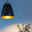 Bell pendel over plante og lys