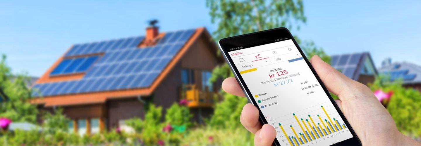 Hus med solceller.