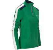 5mila half zip fra Amunsen Sports til dame i fargen winter green. Produktbildet viser genseren sett skrått forfra