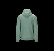 Lunde Zip Hoodie til herre i fargen Beryl Green Melange fra Tufte Wear. Produktbildet viser jakken sett bakfra