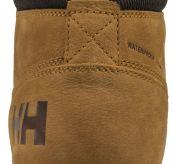 Fremont sko fra Helly Hansen i fargen honey. Produktbilde sett fra hælen
