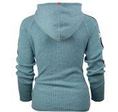 Boiled Jacket Stripes genser fra Amundsen Sports til dame i fargen arctic blue. Produktbilde sett bakfra