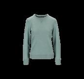 Womens Lunde Sweater i fargen Beryl Green Melange. Produktbildet viser genseren sett forfra