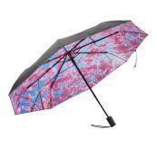 Paraply fra Happysweeds i designet Cherry. Bildet viser paraplyens underside med motiv