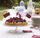 norske flagg på kake norsk flagglenke sydd Langkilde & Søn