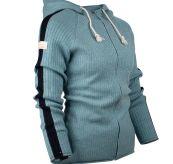 Boiled Jacket Stripes genser fra Amundsen Sports til dame i fargen arctic blue. Produktbilde sett skrått forfra