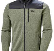 Varde Fleece jakke fra Helly Hansen. Grønn jakke til herre. Produktbilde sett forfra