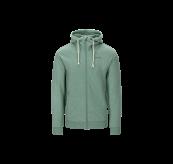 Lunde Zip Hoodie til herre i fargen Beryl Green Melange fra Tufte Wear. Produktbildet viser jakken sett forfra