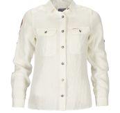 Safari Linen shirt garment dyed fra Amundsen Sports til dame i fargen natural. Produktbildet viser skjorten sett forfra