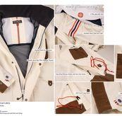 Deck Jacket fra Amundsen Sports til herre i fargen Faded Navy. Bildet viser en oversikt over jakkens detaljer