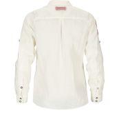 Safari Linen shirt garment dyed fra Amundsen Sports til dame i fargen natural. Produktbildet viser skjorten sett bakfra