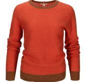 Drifter Sweater til dame fra Amundsen Sports i fargen orange sunset. Produktbildet viser genseren sett forfra
