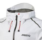 LPX gtx Infinium Aero Jacket fra Musto i fargen platinum til herre. Produktbildet viser jakken i detalj ved halsen med glidelås og innstramminger