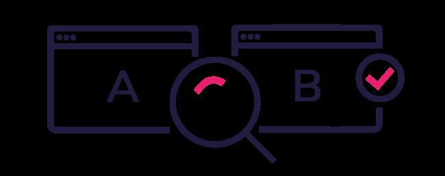 Modell som illustrerer a/b-testing
