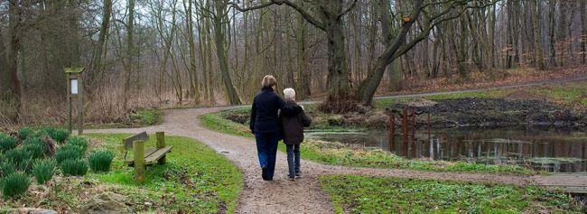 Bestemor går på tur med barnebarnet