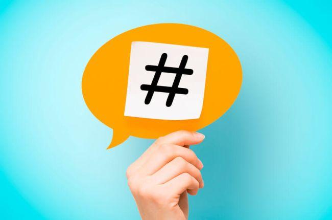 snakkeboble med hashtag
