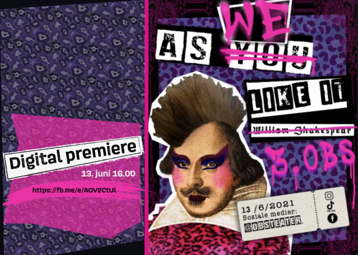 Teaterplakaten til Obs-teateret 2021 til forestillingen As We Like It (forestillingen er en vri på As You Like It av W Shakespeare)