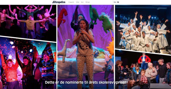 Bilder av de nominerte til årets skolerevy i Aftenposten