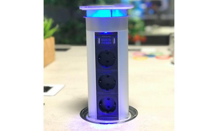 Versalux el-søyler - 3 stikk + 2 USB - MATT STAINLESS STEEL - Med LED LYS