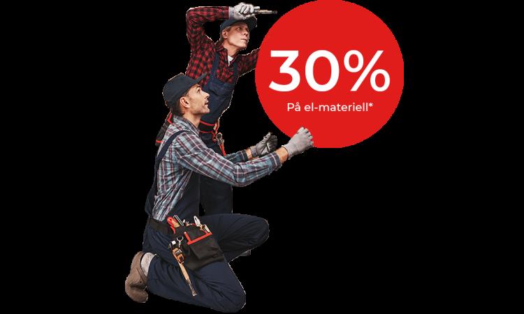 30 prosent på el-materiell