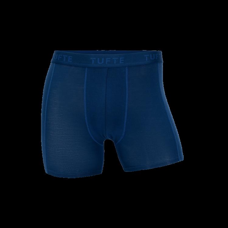 Boxhershorts fra TufteWear til herre i fargen Estate Blue/Limoges. Produktbildet viser boxeren sett forfra