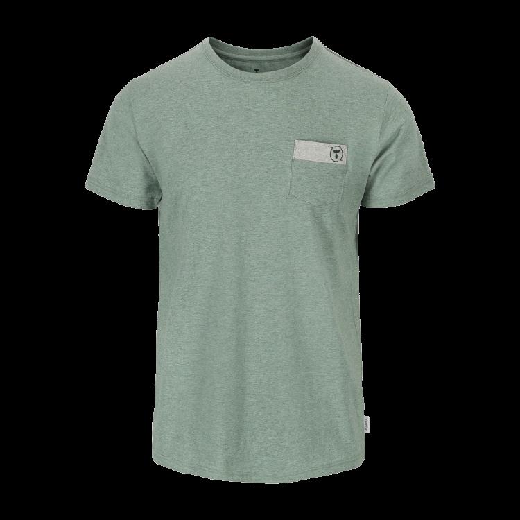 Mens Eco Green City Tee Green/Light Grey/Sky Captain fra Tufte Wear. Bildet viser tskjorten sett forfra