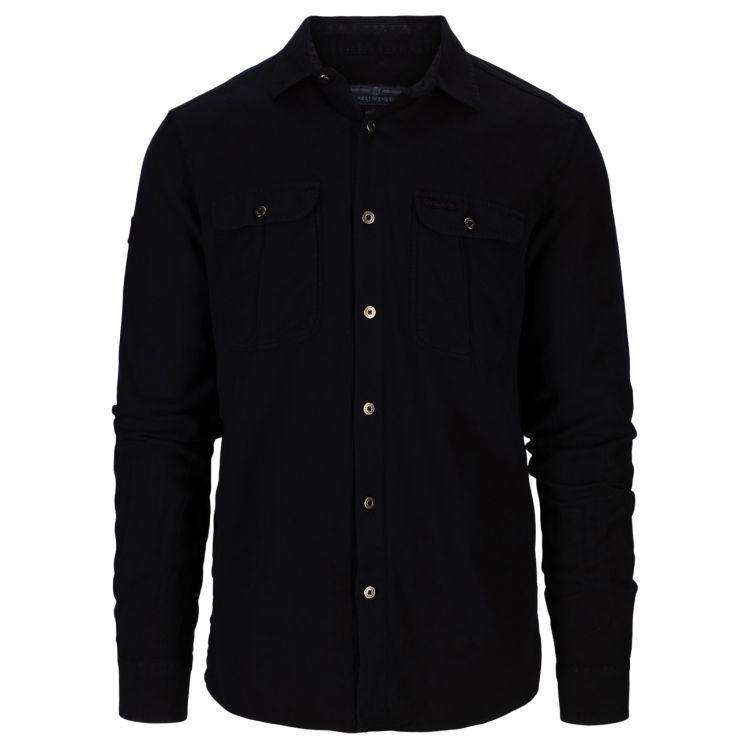 Amundsen Flannel Shirt til herre fra Amundsen Sports. Fargen Faded Navy. Produktbildet viser skjorten sett skrått forfra