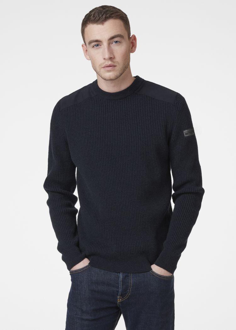 Arctic Shore Sweater fra Helly Hansen i fargen navy. Produkt på kropp sett forfra
