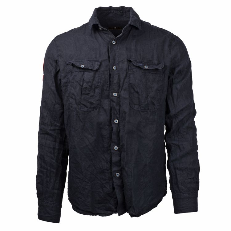 safari linen shirt herre blå fra amundsen sports produktbilde sett forfra